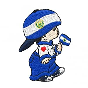 Ei Salvador Little Boy Country Flag Embroidered Iron on Patch Crest Badge ... 5 X 7.5 cm .. New