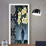 Gzhihine custom made 3d door stickers Daffodils Ceramic Pot Picture Art Ornaments Digital Printed Natural Floral House for Decor Navy Yellow Green For Room Decor 30x79