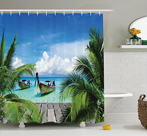 Tropical Beach Photo - Ambesonne Tropical Decor Collection, Beach and Tropical Sea Wooden Deck Floating Boats Sunshine Honeypot Picture Print, Polyester Fabric Bathroom Shower Curtain, 75 Inches Long, Blue Green Gray