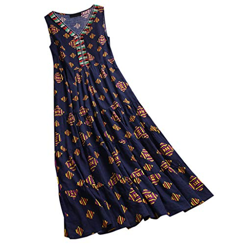 Maxi Dresses for Women Plus Size,ONLY TOP Women Vintage Floral Maxi Dress Bohemian Sundress Sleeveless Dresses