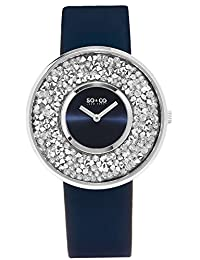 SO & CO New York Women's 5223.2 SoHO Quartz Crystal Accented Blue Leather Strap Watch
