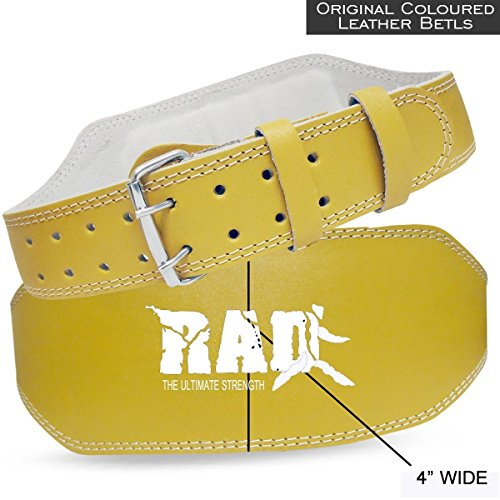 Cheap RAD Yellow Leather Belt 4″ Gym Power Heavy Duty Weight Lifting Bodybuilding (New) (Large)