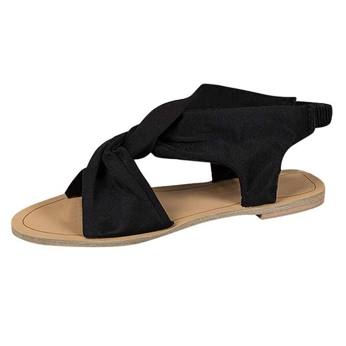 Darringls_Sandalias de Primavera Verano Mujer,Sandalia Cinturón de Cruz Zapatos Punta Abierta Botines Fondo Plano: Amazon.es: Ropa y accesorios