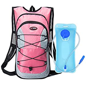Hydration Backpack, Bukm UltraLight 2L Hydration Pack with Water Bladder Camping Hunting Running Hiking Cycling Walking Climbing Skiing Bag Daypack for Men Women Kids (Pink)