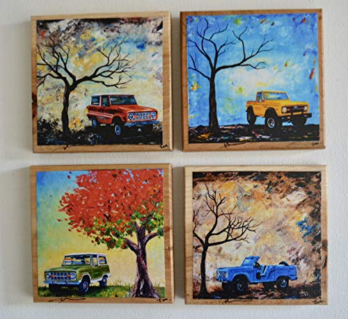 (Fine Art Coasters, set of 4, Ford Bronco's, wood drink coaster, 1960's to 1970's, classic cars, car, truck, fathers day, gift, man, men, present)