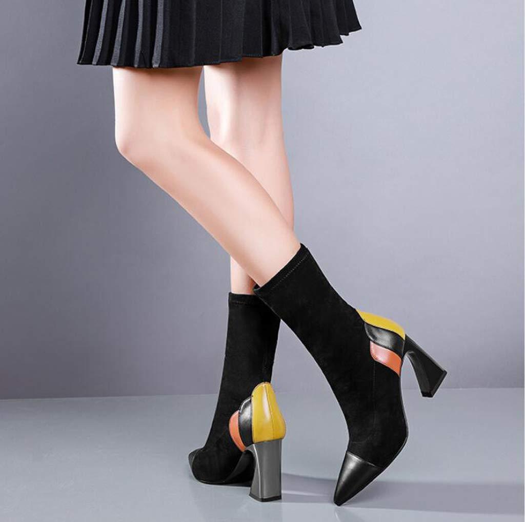 XHCP XHCP XHCP Damenstiefel, Spitzen Dicke, Elastische Stiefel, Mittel Stiefel, Über Kopf Stiefel,34 1a82a4
