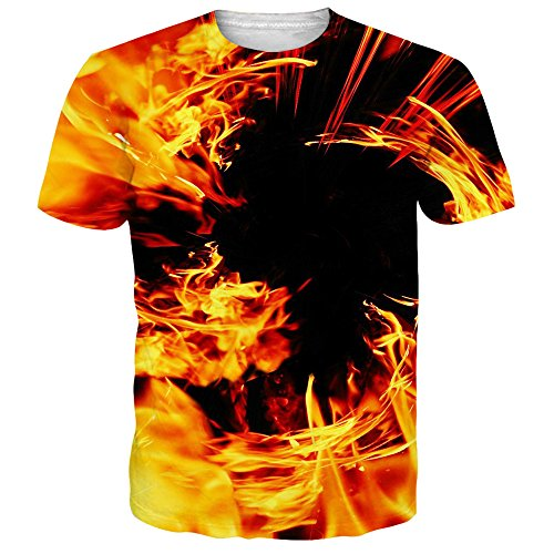 Alistyle Unisex Fashion 3D Print Fire Pattern T-Shirts Short Sleeve Tees for Mens Womens (Fire Short Sleeve T-shirt)