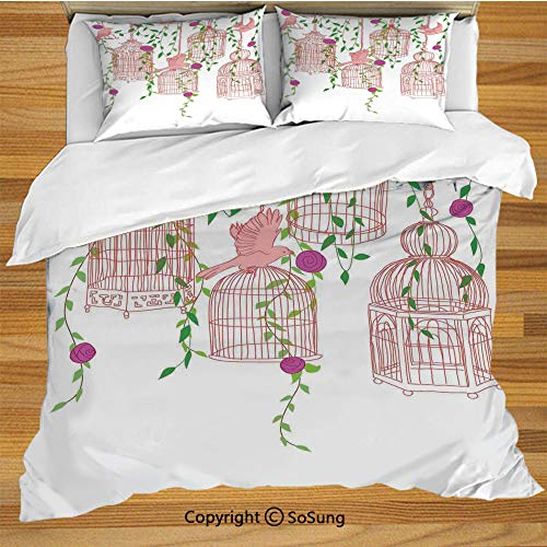 Flying Birds Decor King Size Bedding Duvet Cover Set,Rose Garden with Flying Birds and Ornate Cages Flower Leaf Home Love Design Decorative 3 Piece Bedding Set with 2 Pillow Shams,Pink Green Purple