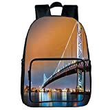 Strong Durability Square Front Bag Backpack,Apartment Decor,Ben Franklin Bridge and Philadelphia Skyline Viewed from Camden Across the Delaware River Decorative,,for Children,Personalized Design.15.7""
