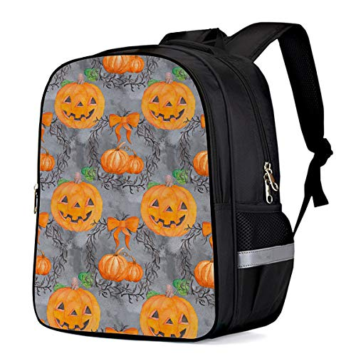 Lightweight Backpack for School,Halloween Pumpkin Smiley Face Basic Water Resistant Casual Daypack for Travel with Bottle Side Pockets 16 Inch