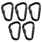 Fusion Climb Eureka Military Tactical Edition Aluminum Screw Gate Pear Shape Carabiner Black 5-Pack