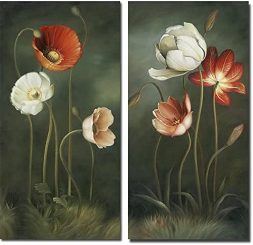 Wieco Art Large 2 Piece Modern Floral Giclee Canvas Prints Artwork Contemporary Colorful Flowers Oil Paintings Reproduction Green Pictures On Canvas Wall Art For Living Room Bedroom Home Decorations Amazon Co Uk Welcome