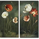 Wieco Art - Large 2 Piece Modern Floral Giclee Canvas Prints Artwork Contemporary Colorful Flowers Oil Paintings Reproduction Green Pictures on Canvas Wall Art for Living Room Bedroom Home Decorations