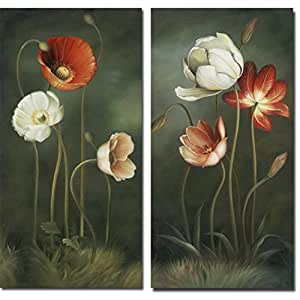 amazon   wieco art   large 2 piece modern floral giclee