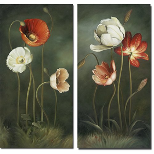Wieco Art Large 2 Piece Modern Floral Giclee Canvas Prints Artwork Contemporary Colorful Flowers Oil Paintings Reproduction Green Pictures on Canvas Wall Art for Living Room Bedroom Home Decorations