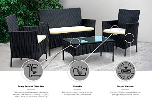 IDS Home Patio Furniture Set Clearance Rattan Wicker Patio Dining Table and  Chair Indoor Outdoor Furniture Set Balcony Dining Set