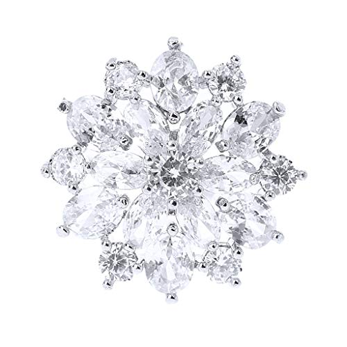 Yangfr 1Pc 21mm Glitter Zircon Double Layer Round Six Petals Flower Shape Decorative Buttons with Metal Loop, Rhinestone Crystal Upholstery Buttons -