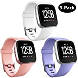 GEAK Replacement Bands for Fitbit Versa (3 Pack), Classic Accessories Bands with Secure Aluminum Buckle for Fitbit Versa Smart Watch, Women Men Kids,Small White Peach Periwinkle