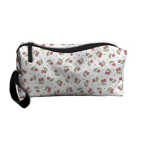 Cherry Pattern Cosmetic Bags Brush Pouch Makeup Bag Zipper Wallet Hangbag Pen Organizer Carry Case Wristlet - Hill Mall Cherry Times