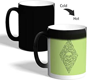 Bones and skull Printed Magic Coffee Mug, Black