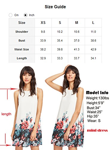 ROMWE Women's Summer Sundress Floral Printed Sleeveless Casual A Line DressWhite L Photo #8