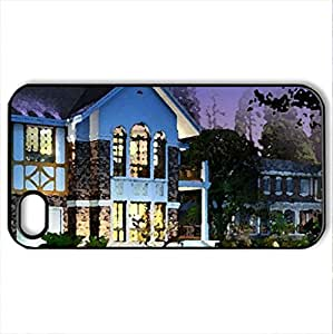 Beautiful House and Garden - Case Cover for iPhone 4 and 4s (Houses Series, Watercolor style, Black)