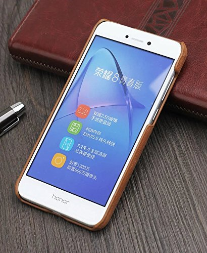 YAJIE-Carcasa Funda Para Huawei P9 Lite 2017 Estilo Retro de Lujo Ultra Thin Genuine Leather Back Case Case Funda protectora ( Color : Dark Brown ) Brown