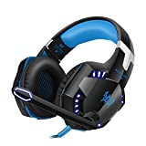 VersionTech G2000 PC Gaming Headset, Wired Surround Stereo Over Ear Headphones with Mic/ Noise Isolation / In-Line Volume Control/ LED Lights for PC Computer Gamers -Blue