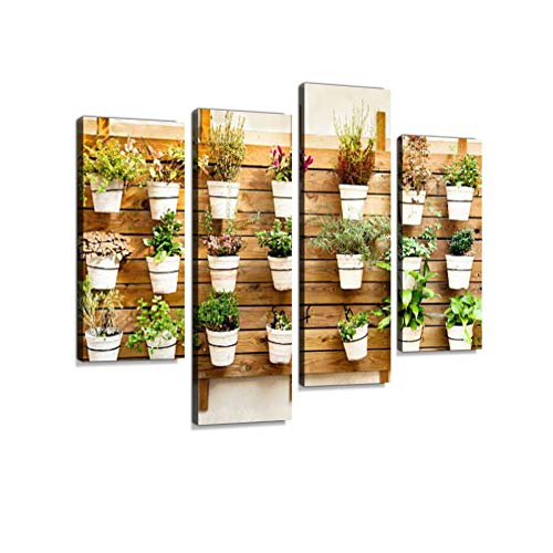 (Plants in pots Wall Mount Canvas Wall Art Hanging Paintings Modern Artwork Abstract Picture Prints Home Decoration Gift Unique Designed Framed 4 Panel)