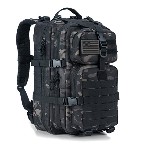 REEBOW GEAR Military Tactical Backpack Small Assault Pack Army Molle Bug Out Bag Backpacks School Rucksack Daypack Black Camo