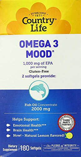 Country Life Omega 3 Mood, with EPA and Fish Oil Concentrate,180 Softgels