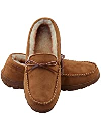 Mens Slippers Indoor/Outdoor Plush Lining Moccasin Microsuede Slip On House Shoes
