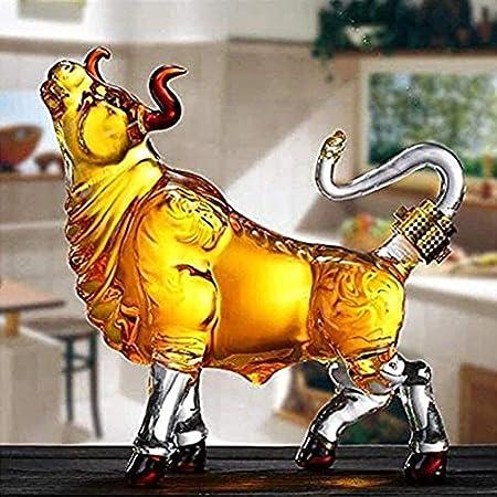 Decantadores reutilizables 1000ml Whisky Dispensador de botellas Forma de vaca Creatividad Decantador de vino, botella de vidrio de borosilicato para whisky, whisky, bourbon 3.13 (color: transparente,