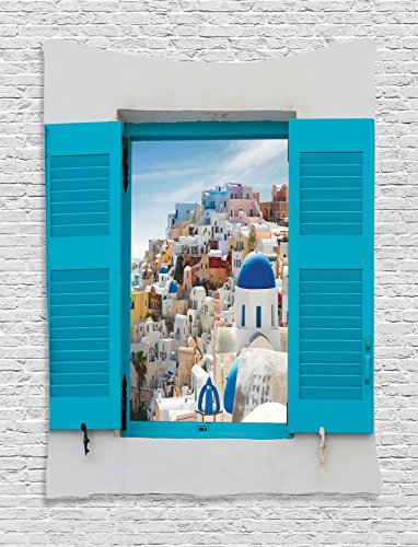 European Cityscape Decor Tapestry Wall Hanging By Ambesonne, Old Shutter Window With View Of Traditional Greek Village Heritage Culture Deco, Bedroom Living Room Dorm Decor, 60 W x 80 L Inches, Multi