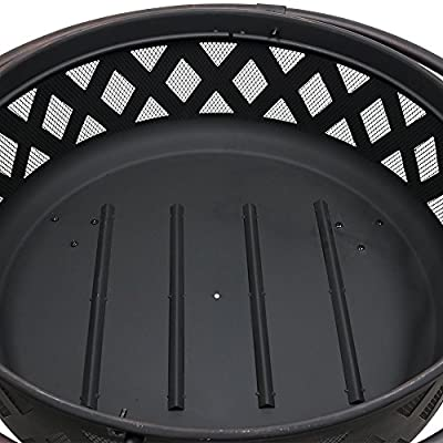 Sunnydaze Large Crossweave Outdoor Fire Pit with Spark Screen and Poker, Wood Burning Patio Firepit Bowl, 36 Inch, Black