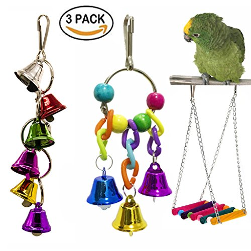 Pack 3 Pet Bird Cage Toys - Rainbow Ladder Bird Hammock Swing, Bird Rope Ring Bell Chew Toy, Bird Toys Hanging Bell for Small Parakeets Cockatiels, Conures, Macaws, Parrots, Love Birds, Finches (B123) by TOUGH GIRL