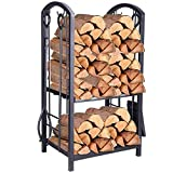 Pinty Heavy Duty Firewood Log Rack Firewood Storage Rack Indoor/Outdoor Fireplace Tool Set with 4 Tools