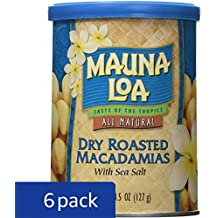Mauna Loa Dry Roasted Macadamias With Sea Salt, 4.5-Ounce Cans (Pack of 6)