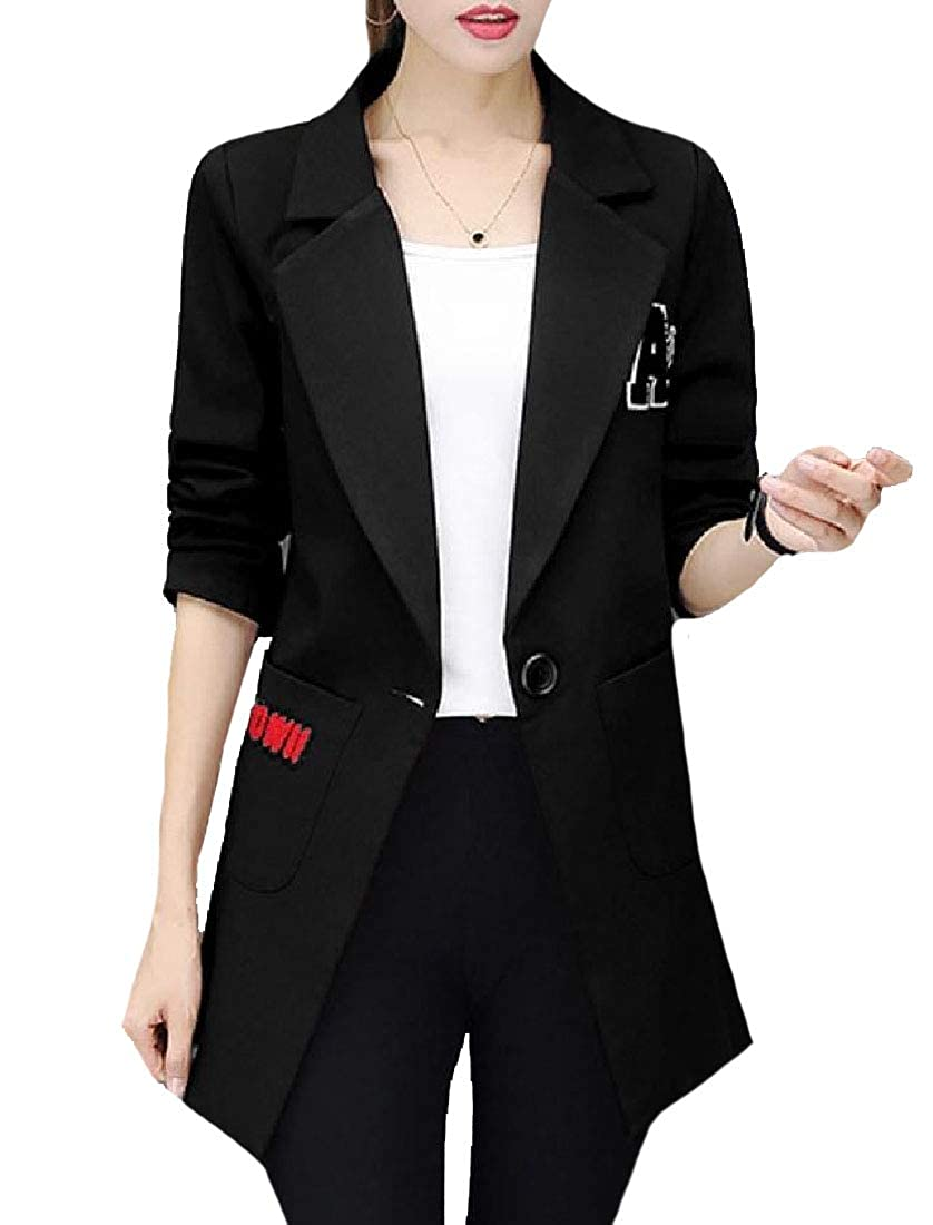 YUNY Womens Notched Lapel Blazer Regular Fit Longline Duster Coat Black XL