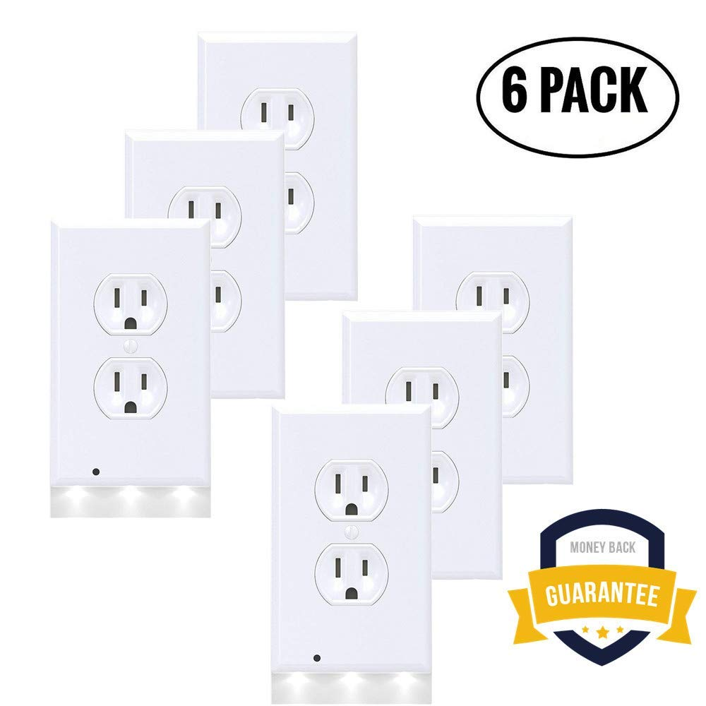 6Pack Wall Outlet Plate LED Night Light, Illuminated Plug Cover With Sensor Inductive Guidelight Easy Snap On No Wire Or Battery Needed Hallway Bathroom Stairway Decor