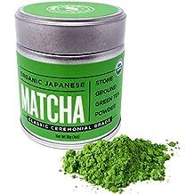 Jade Leaf Matcha Green Tea Powder - USDA Organic - Ceremonial Grade (For Sipping as Tea) - Authentic Japanese Origin - Antioxidants, Energy [30g Tin]