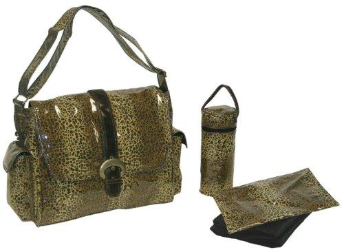 Kalencom Laminated Buckle Bag, Cheetah/Chocolate