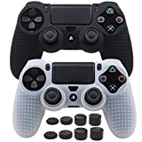 Pandaren STUDDED Anti-slip Silicone Cover Skin Set for PS4 /SLIM /PRO controller(controller skin x 2 + FPS PRO Thumb Grips x 8)(Black,White)