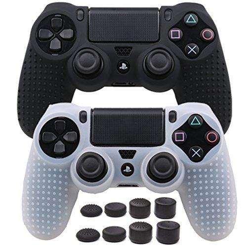 Pandaren STUDDED Anti-slip Silicone Cover Skin Set for PS4 /SLIM /PRO controller(controller skin x 2 + FPS PRO Thumb Grips x 8)(Black,White)
