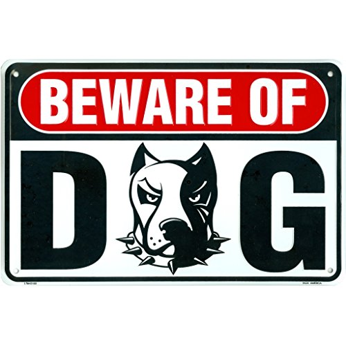 Tags America Beware of Dog Sign, Metal Pitbull Guard Dog Warning Sign, 8 x 12 Inch Rust Free Aluminum, Easy Mount On Fence Or Gate