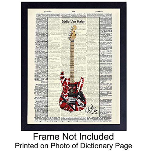 (Eddie Van Halen Guitar - Wall Art Print on Dictionary Photo - Ready to Frame (8x10) Vintage Photo - Great Gift for Music and Rock n Roll Fans - Cool Steampunk Home Decor)