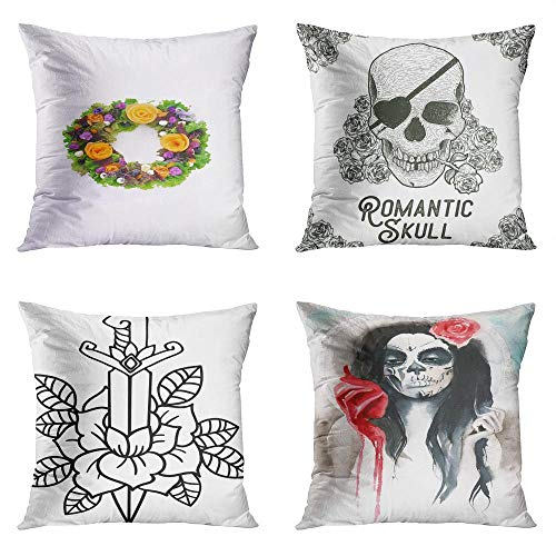 Caveira No Halloween (Janyho Set of 4 Throw Pillow Covers Square Halloween Wreath Salad Lettuce Persimon Skull Rose Romantic Knife Sword Dagger Girl Heart Home Sofa Bedroom Cushion Cases Polyester Pillowcase 20x20)