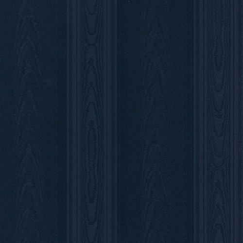 Aberdeen Fabric - Manhattan Comfort NWSK34735 Aberdeen Silk Stripe Textured Wallpaper, Navy