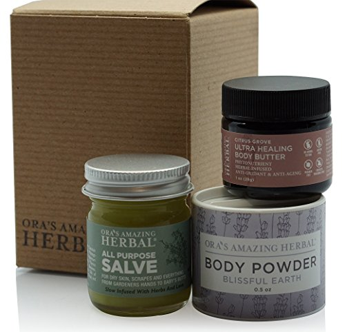 Natural Travel Size Skin Care Set, Natural Moisturizer Hand and Body Care Cream, Herbal Tea Tree Oil Salve Balm With Organic Calendula, Ultra Healing Shea Body Butter, Talc-Free Body Powder by Ora's Amazing Herbal (Image #8)
