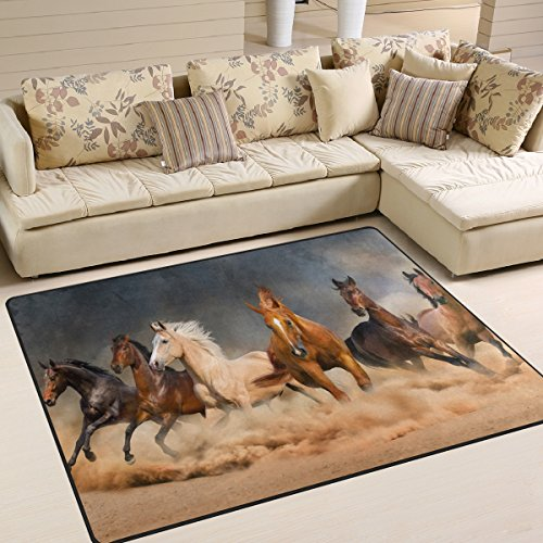 Naanle Animal Area Rug 5'x7', Running Horse in Desert Sand Storm Polyester Area Rug Mat for Living Dining Dorm Room Bedroom Home Decorative